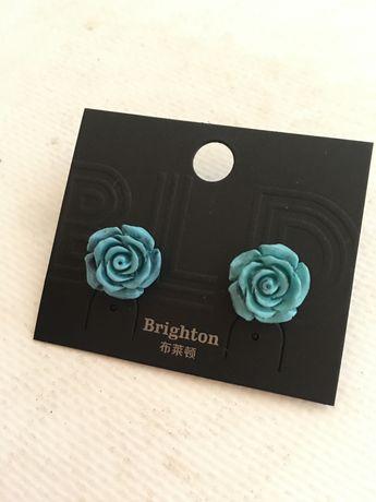 серьги сережки розы розочки на застежках
