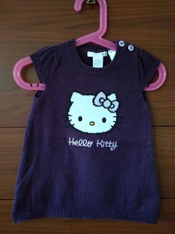 Fioletowa ciepła sukienka h&m Hello kitty 68