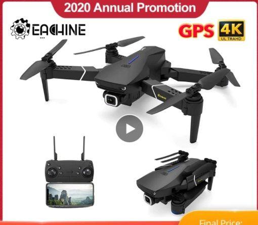 PORTES GRATIS - Eachine Drone E520S - Câmera HD 4K, com GPS