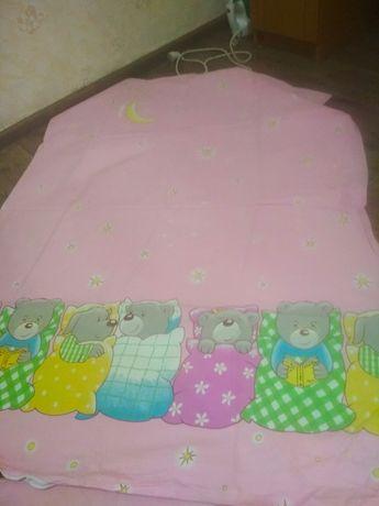 Постельное белье в кроватку байку и подушечка для новорожденного
