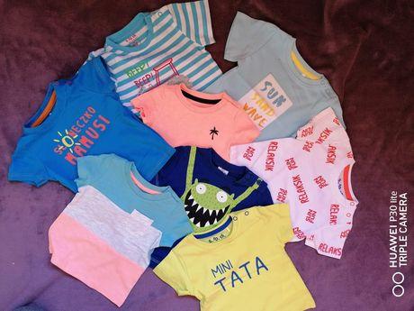 Zestaw koszulek krótki rękaw r.62 plus gratis bezrękawnik 3-6 miesiecy