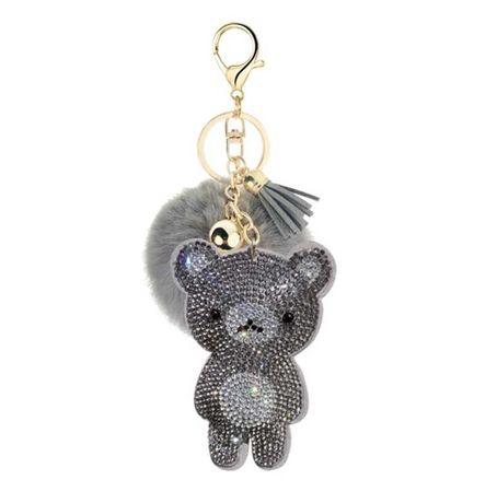 Porta chaves de ursinho e pompom