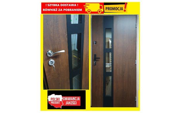 """Drzwi zewnętrzne ORZECH model """"AFRYKA 2"""" NOWE"""