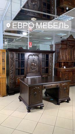 Экслюзив! Аникварный кабинет ручной работы, массив дерева  шкаф стол