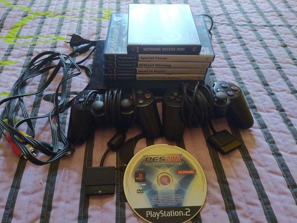 Conjunto consola e jogos PS2
