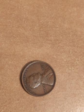 1 cent USA 1921 r. Awers i rewers skręcone o 180 stopni
