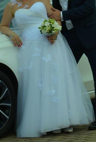 Suknia ślubna biała z kryształkami bez koronek roz. ok. 40 Śląsk