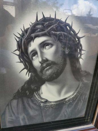 Obraz Jezus Chrystus w cierniowej koronie Antyk w oprawie