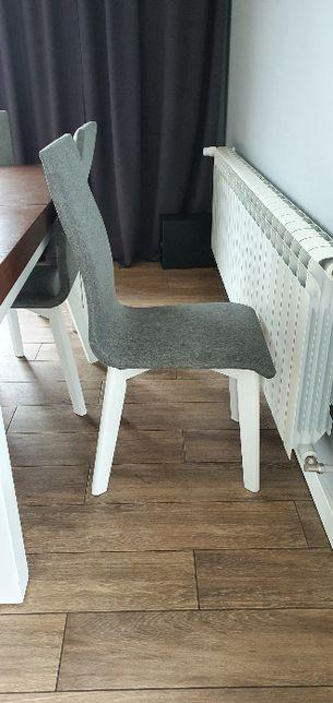 Szare krzesła, styl skandynawski (6 sztuk) białe nogi. Polecam