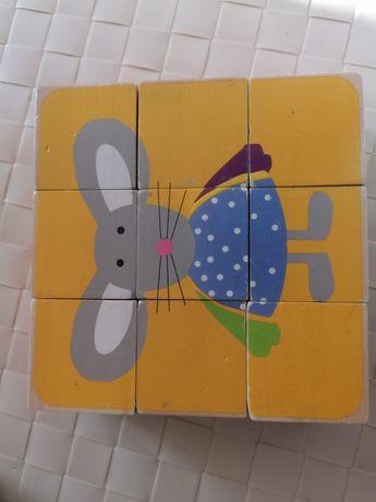 puzzle drewniane kostki 9 sztuk ładne obrazki.
