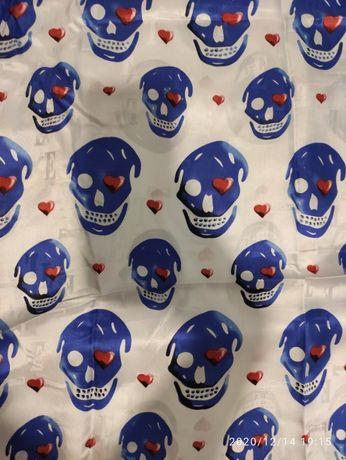 tkanina materiał jedwab sztuczny kolorowy czaszki biały