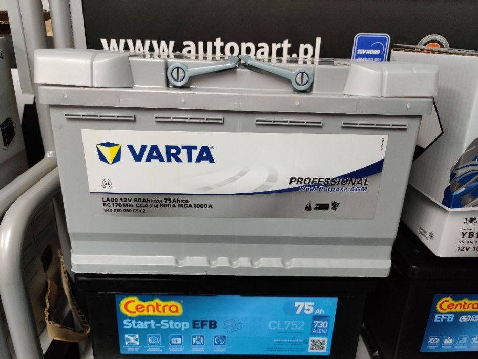 Akumulator Varta Pro Dual Purpose AGM LA80 12V 80Ah 800A P+ Kraków Kraków - image 1