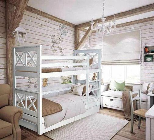 Кровать двухъярусная деревянная (массив бука) Лея / ХИТ ПРОДАЖ