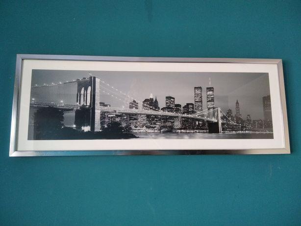 Foto obraz w srebrnej ramie miasto nocą most Brooklinski