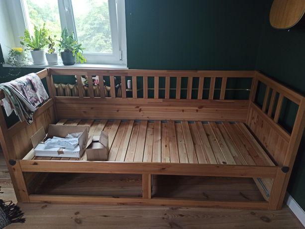 Leżanka Hemnes IKEA 160x200 + bordowy futon 80 cm