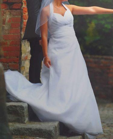 Suknia ślubna z trenem rozmiar 40 na 165cm