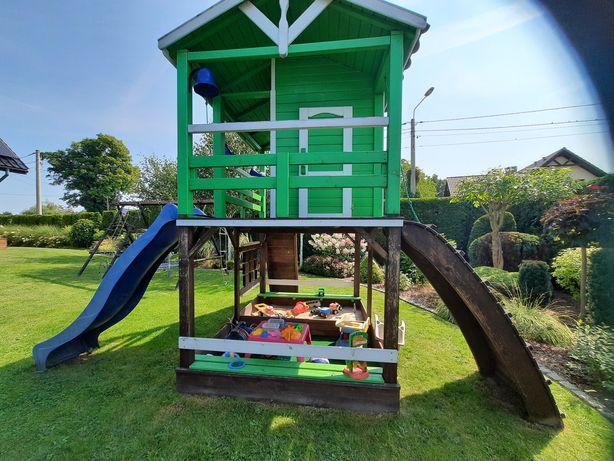 Wielofunkcyjny drewniany domek dla dzieci, plac zabaw