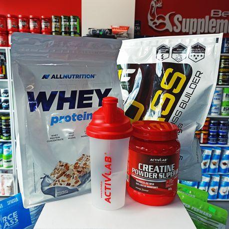 ZESTAW Odżywek Białko, Gainer, Kreatyna i Shaker Odżywki na Mase