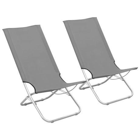 vidaXL Cadeiras de praia dobráveis 2 pcs tecido cinzento 310377