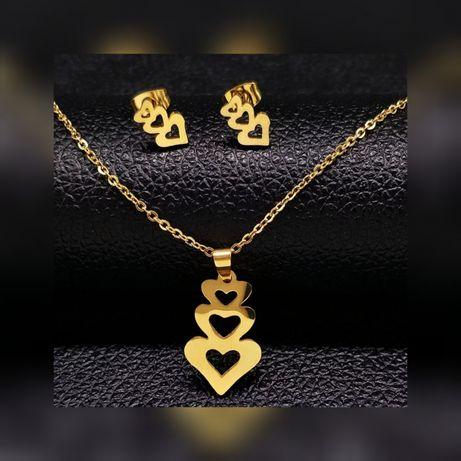 Romantyczny Złoty Komplet Biżuterii Łańcuszek + Zawieszka + Kolczyki