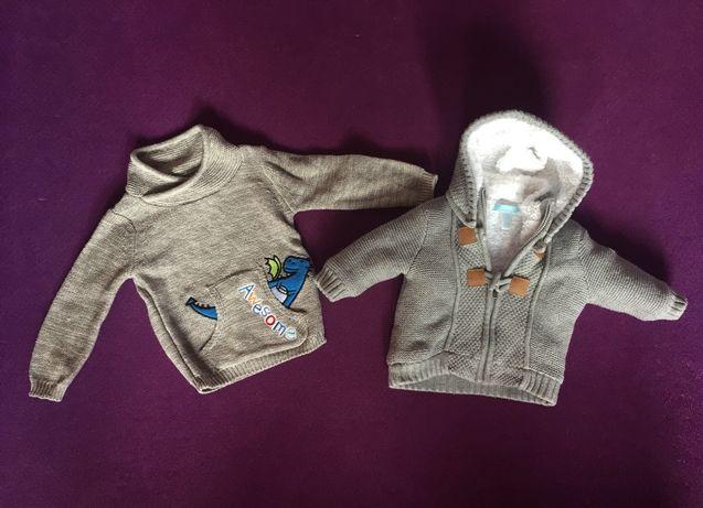 2 bluzy niemowlęce chłopięce Obaibi oraz Smyk 0-3 mies.