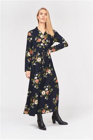 Wiskozowa sukienka maxi, kwiaty, czarna, guziki, carry, S