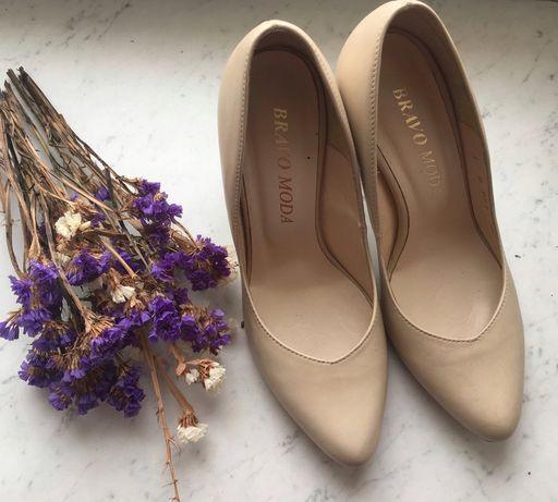 Туфли лодочки бежевие кожание шкіряні Bravo Moda Zara Mango