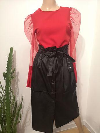 Nowa spódnica z ekoskóry midi model Zara rozmiar L lub XL