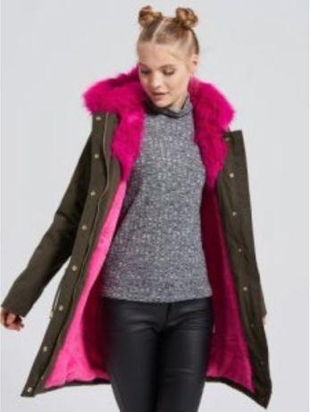 Wiosenna jesienna parka kurtka płaszcz futro róż neon L