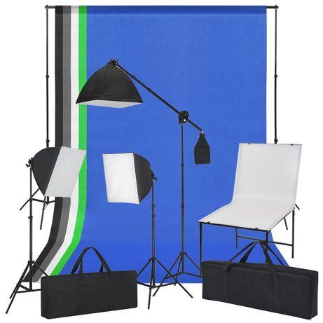 vidaXL Kit estúdio fotográfico com mesa, luzes e fundos 190211