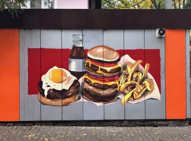 Роспись стен, художественное/граффити оформление, вывески, витрины