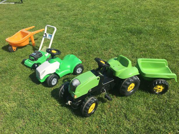 Traktorek dziecięcy, kosiarka, taczka