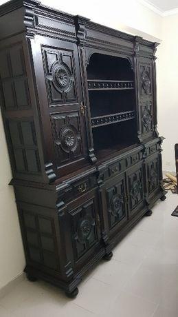 Mobília de sala de jantar completa de madeira escura