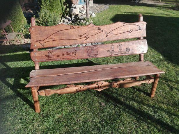 Ławka ogrodowa debowa drewniana