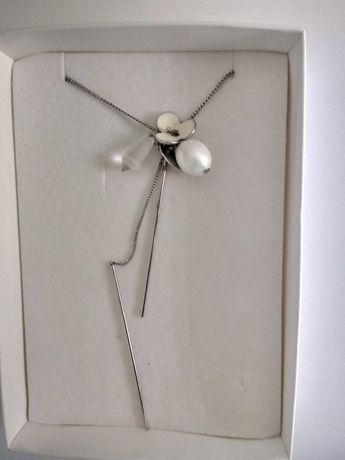 Piękny naszyjnik onyks srebrny Artelioni