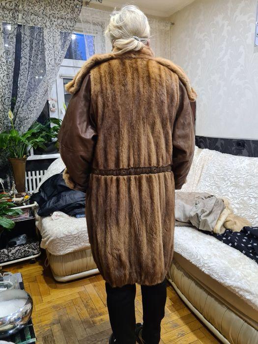 Норкавая шуба размер 50_52Б\у 10000гр  коричне цвет  с кожаные вставки Харьков - изображение 1