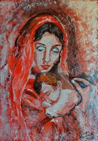 """Obraz ręcznie malowany """"Madonna z Dzieciątkiem"""""""