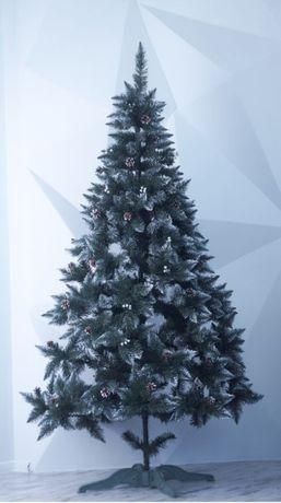 Новогодняя ёлка/искусственная ель с калиной и шишками, снежные кончики