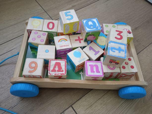 Zestaw drewniane zabawki klocki i inne