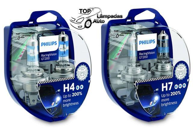 NOVAS Lâmpadas Philips RacingVision GT200 H4 e H7 - PORTES GRÁTIS
