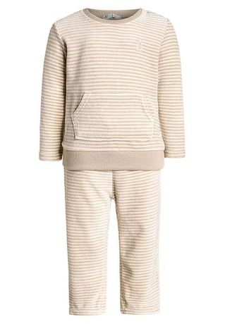 Benetton komplet set z weluru 68 spodnie bluza