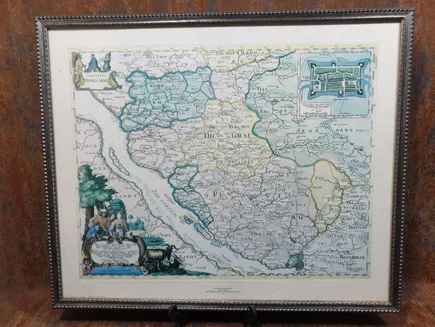 Quadro e Raro Mapa autêntico Amsterdam 1662 - Holanda