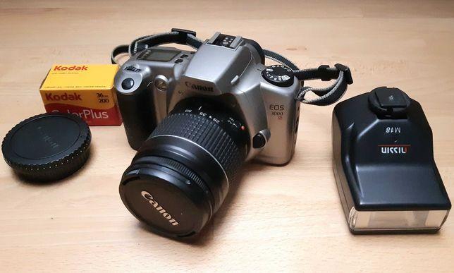 Lustrzanka aparat Canon EOS 3000 N + obiektyw 28-80 + lampa Nissin