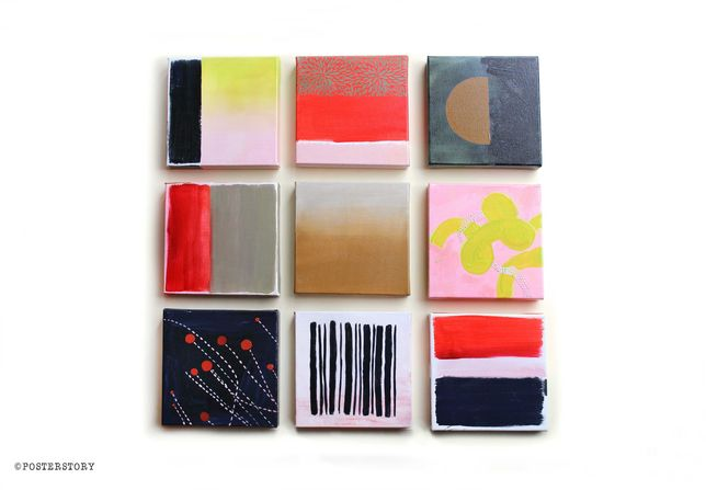 9 Obrazów kwadratowych akryl. Panele malarstwo abstrakcyjne. 60x60cm