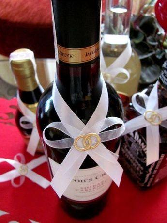 Zawieszki kokardki na wódkę weselną