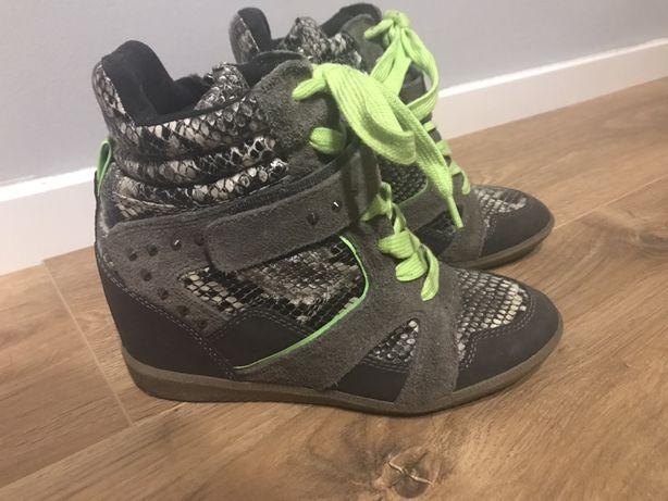 Przepiękne sneakersy koturny tamaris marant rozm 39 fluo skóra zamsz