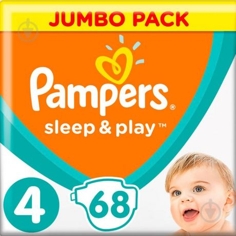 Памперсы,подгузники Pampers Sleep & Play 4 Maxi 9-14 кг, 68 штук