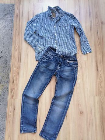 134/140 elegancki zestaw dla chłopca jeansy koszula