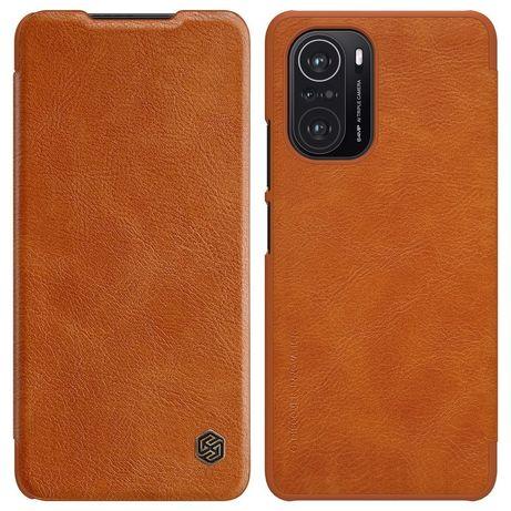 Capa Nillkin Qin Original Leather Cover Xiaomi Redmi K40 Pro+ / K40 Pro / K40 / Poco F3 / Mi 11I Castanho
