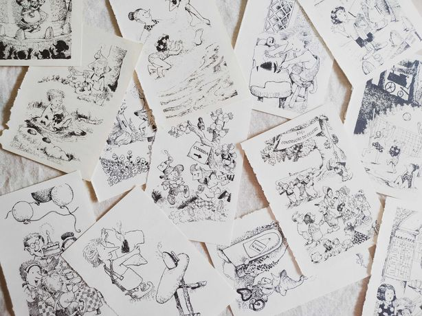 Papel Vintage Com Ilustrações a Preto e Branco